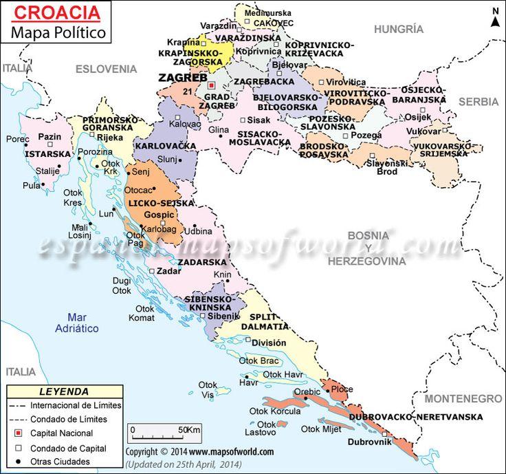 Mapa de Croacia (Map of Croatia) MapsINSpanish Mapa de