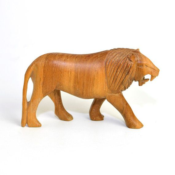Carved Wooden Lion Statue Figurine Handmade Solid Wood