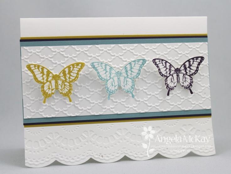 SU Papillon Potpourri stamp set with fancy fan embossing folder - bjl