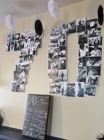 写真で数字を作るのもおすすめ。歴史の詰まった写真たちを見ながら、思い出話に花が咲きます。年をとるのって素敵なことなんですね。