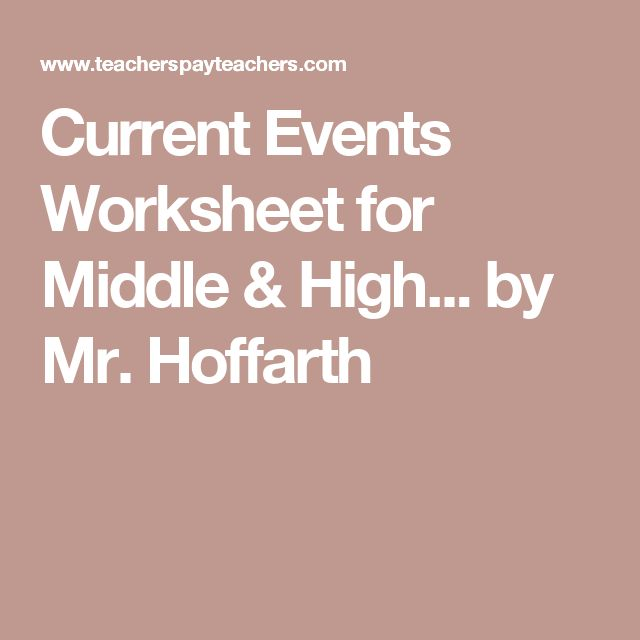 Current Events Worksheet for Middle & High... by Mr. Hoffarth