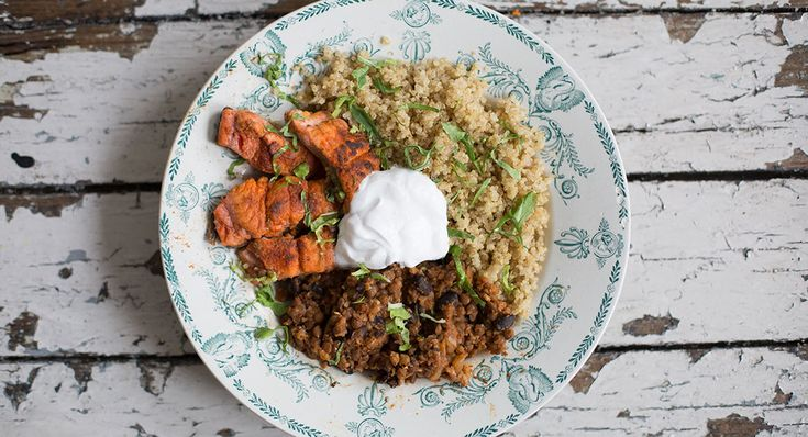 Mexican Salmon, Lentil and Quinoa Bowl