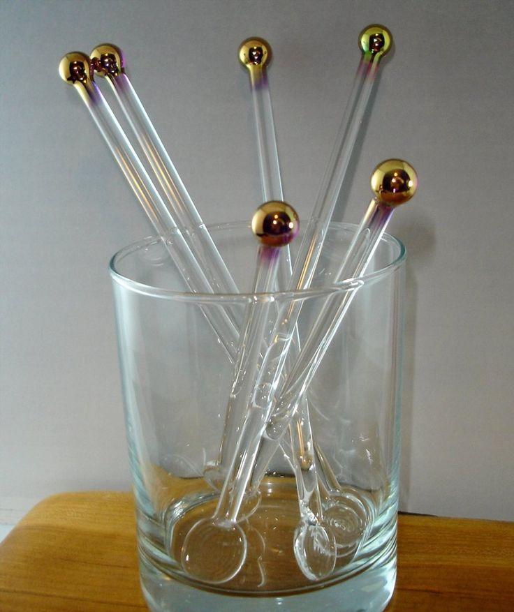 24k Gold Cocktail & Coffee Stir Sticks, Glass Swizzle Sticks (Set of 4)