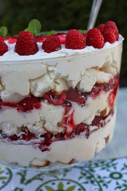 Recipe: Dessert, Recipe: Fruit, Raspberry Angel Food Cake Trifle, fancy desserts, gourmet desserts, best raspberry dessert, angel food cake, Mothers Day Favorites,