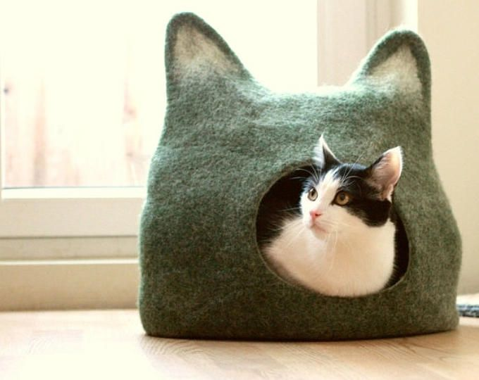 Casa di gatto letto - Grotta del gatto - gatto - ecologici fatti a mano in feltro regalo di giorno le madri di lana gatto letto - verde con luce naturale - fatta su ordinazione-