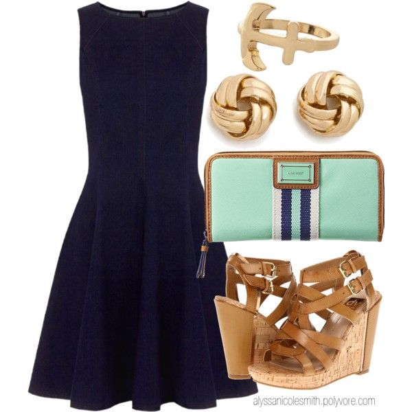 """""""Nautical Summer Dress Outfit"""" by alyssanicolesmith on Polyvore"""