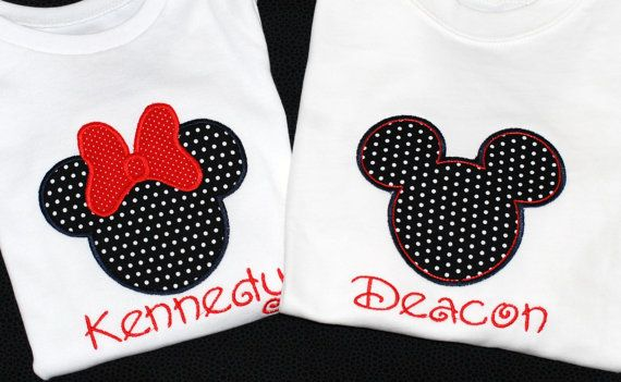 Girls boys personalized Disney minnie mickey mouse shirts