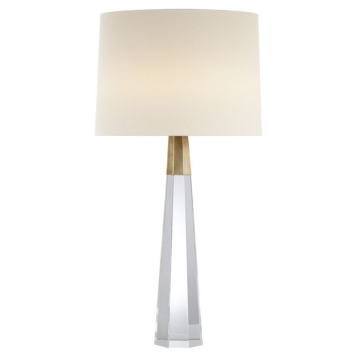 Visual Comfort ARN3026CG-HAB-L AERIN Table Lamps Olsen Table Lamp in Crystal and Hand-Rubbed Antique Brass with Linen Shade |…
