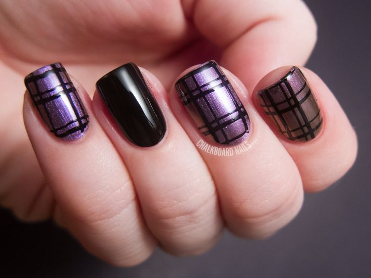 purple and black grid nails