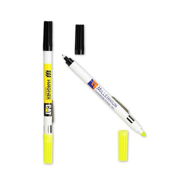 "Texas Custom Prints from Fort Worth TX USA A 2-in-1 writing utensil perfect for any classroom or office atmosphere, our DriMark (R) Double Header nylon-point pen and highlighter combo will make for an outstanding handout for your next tradeshow or convention. This handy item measures 6 3/4"" and features a yellow highlighter with conical tip at one end and a nylon point pen with black ink and a black cap at the other end. Customize with your company name and logo to highlight you..."