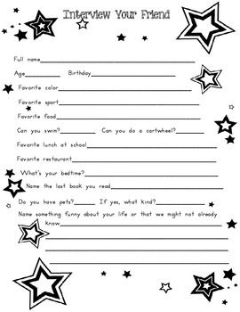 Great activity for Back to School!  Interview a friend and then have the student introduce the student to the class.