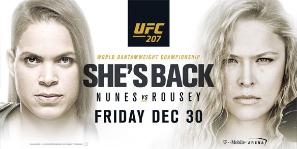 UFC 207 Women's Bantamweight FRIDAY, DECEMBER 30 • DOORS AT 8PM • EVENT CENTER   Championship bout: Amanda Nunez (c) vs. Ronda Rousey viewing at Mount Airy Casino!