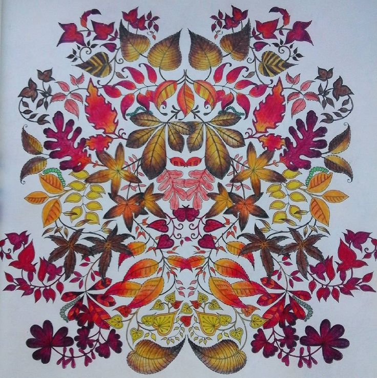 """#autumn #autumncolors #magdakoloruje #johannabasford #arttherapy #coloringbookforadults #colorfullmind #red #yellow #brown #secretgarden…"""