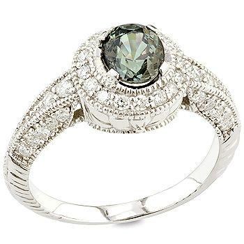 vintage style alexandrite jewelr | Viktoriya - Alexandrite, white diamond and white gold ring