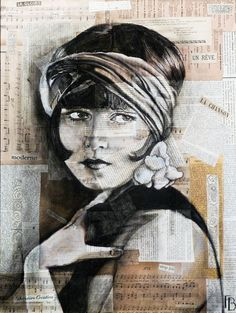 Louise Brooks - Mixed Media,  45x60 cm ©2014 par Flore Betty -  Média mixtes