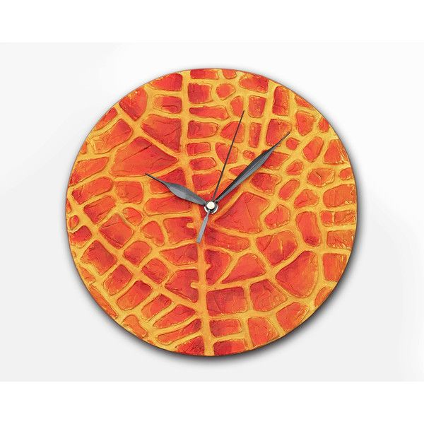 Wood wall clock, Orange clock, Leaf WALL CLOCK, Art wall clock, Unique... (15.885 HUF) ❤ liked on Polyvore featuring home, home decor, clocks, wooden clock, red home decor, handmade clocks, wood wall clock and handmade wooden clocks