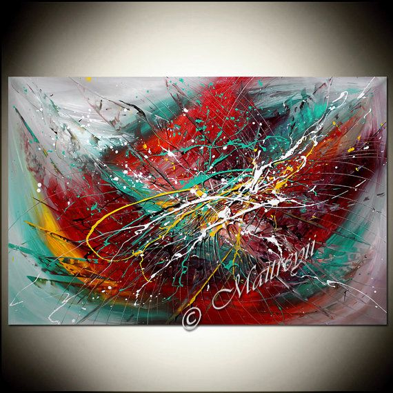 """ABSTRACT PAINTING Original art 52"""" x 32"""" Red Turquoise Large wall art for living room, Original Art Work from artist Maitreyii"""