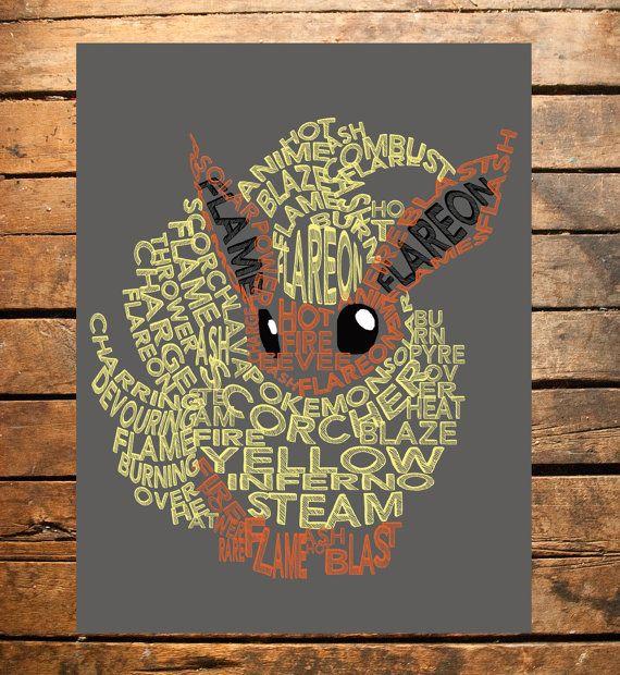 Pokemon Flareon Typography Digital Print