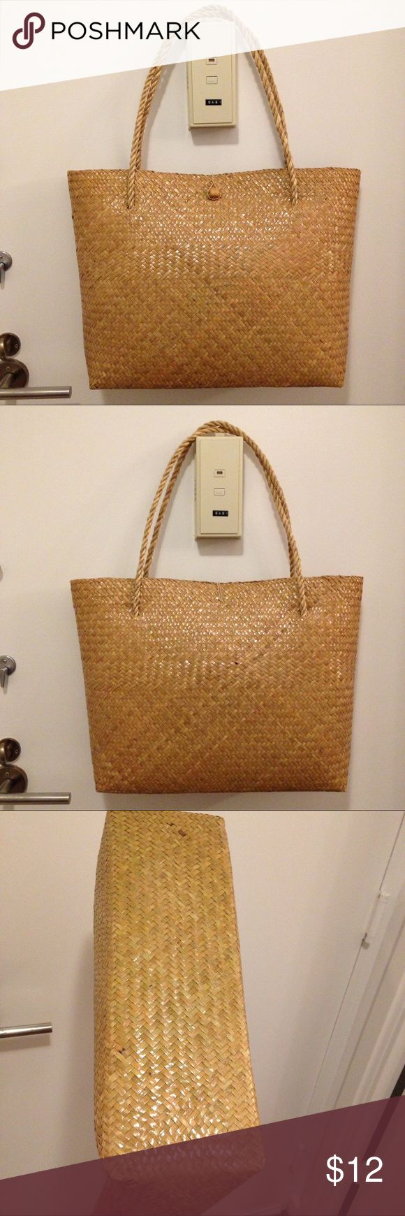 """Straw bag tote handmade France Handmade. Brand new. Minimal wears from storage around corners. Size 13"""" x 19"""" x 5"""" Unbranded. Bag is bought from local market south of France. Not j crew. List j crew for exposure. J. Crew Bags"""