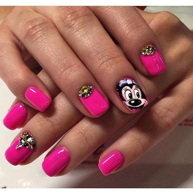 Children nails ideas, Half-moon nails ideas, Manicure by summer dress, Mickey…