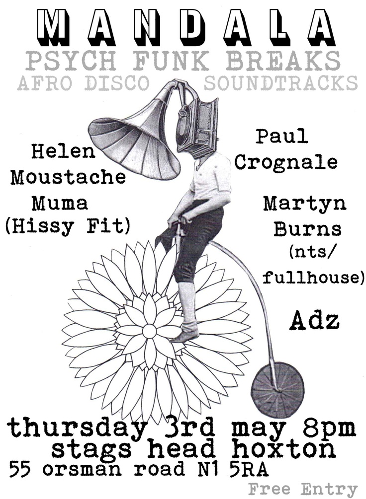Helen plays Mandala on 5/3 with Paul Grognale and Martyn BurnsPaul Grognal, Mama Hissy, Plays Mandalas, Martyn Burning, Helen Plays, Moustaches Mama, Hissy Fit