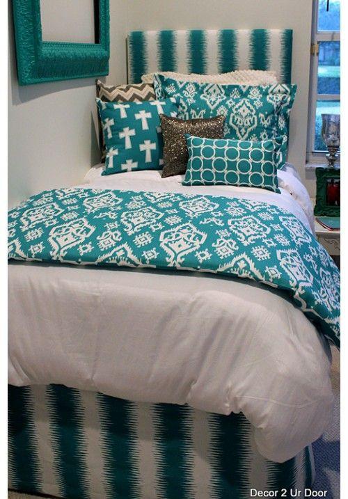 Teal & Silver Designer Teen & Dorm Bed in a Bag | Teen Girl Dorm Room Bedding                                                                                                                                                     More