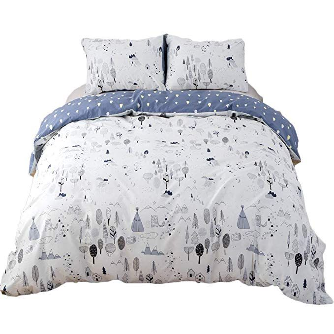 Clothknow Forest Duvet Cover Sets Twin For Boys Girls Kids Woods Tree Bedding Sets 100 Cotton Pack Of 3 F Duvet Cover Sets Bedding Sets Grey White Duvet Covers