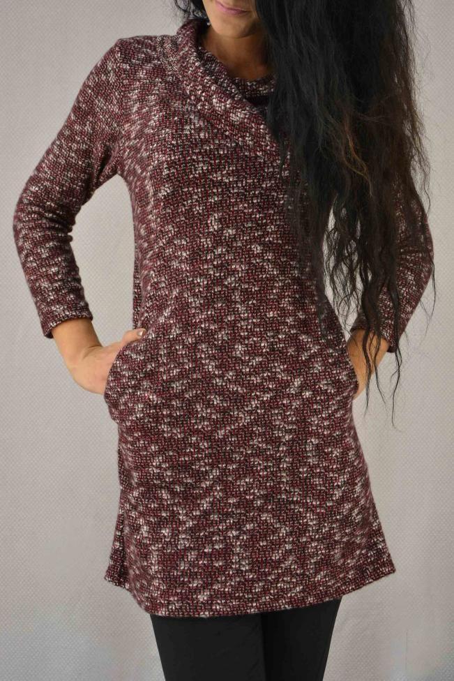 Γυναικείο φόρεμα με φαρδύ γιακά  FORE-2264-bu Φορέματα - Φορέματα 2016