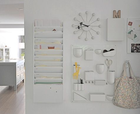 Organized wall: Wall Spaces, Wall Storage, White Offices, Organizations Idea, Wall Organizations, Organizations White, Offices Organizations, Organizations Offices, Offices Wall