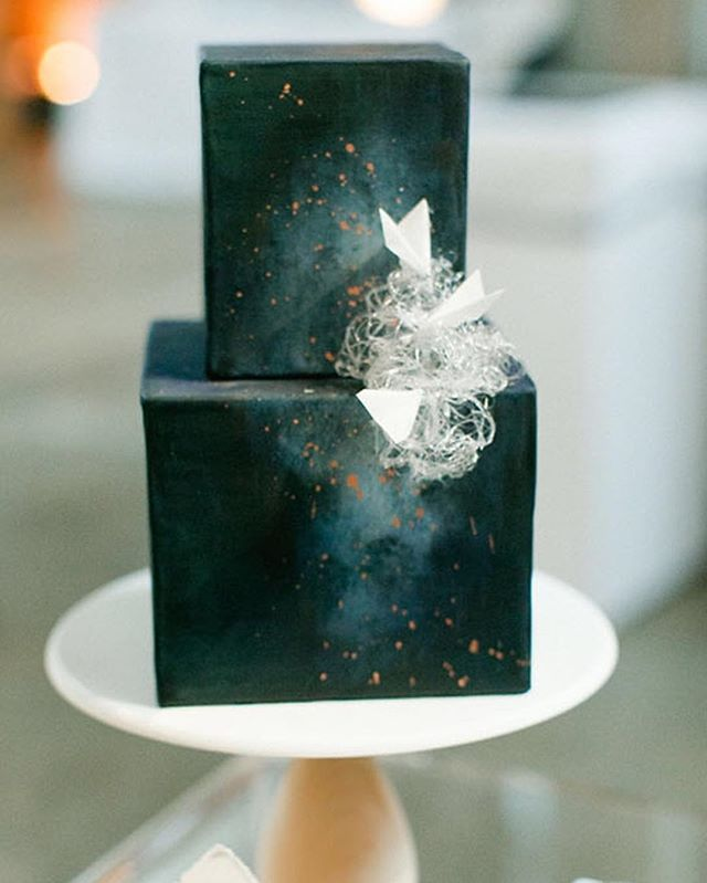 Cosmic cake with spun sugar clouds