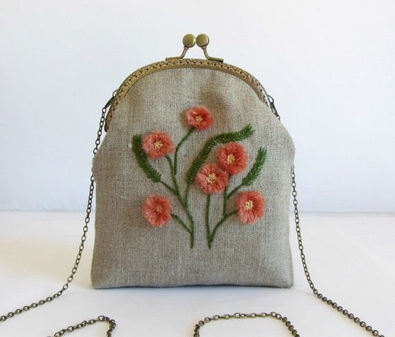 Hand embroidered linen bag, embroidered purse, bridesmaid purse, made in France, small bag,  unique pièce, floral purse