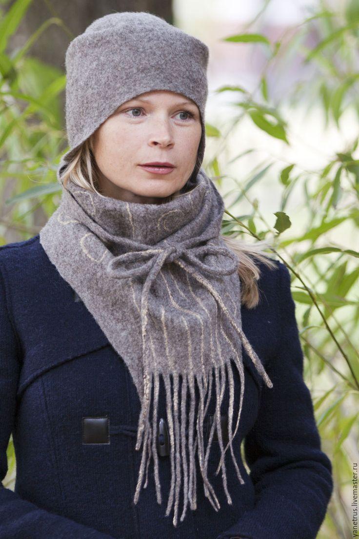 """Купить шапка с ушками шапка валяная бактус валяный шапка и шарф""""Герда"""" - серый, комплект аксессуаров"""