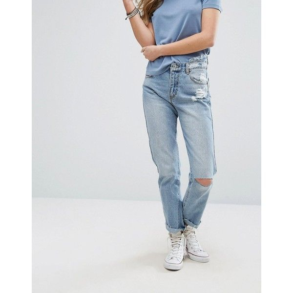 Pull&Bear Ripped Knee Mom Jeans (£30) ❤ liked on Polyvore featuring jeans, blue, tall jeans, high waisted destroyed jeans, blue jeans, slim fit jeans and distressed jeans