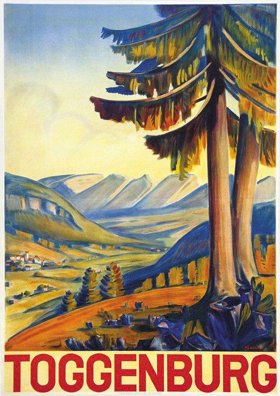 Nostalgieplakat für die Region Toggenburg im Kanton St. Gallen von Hans Looser.