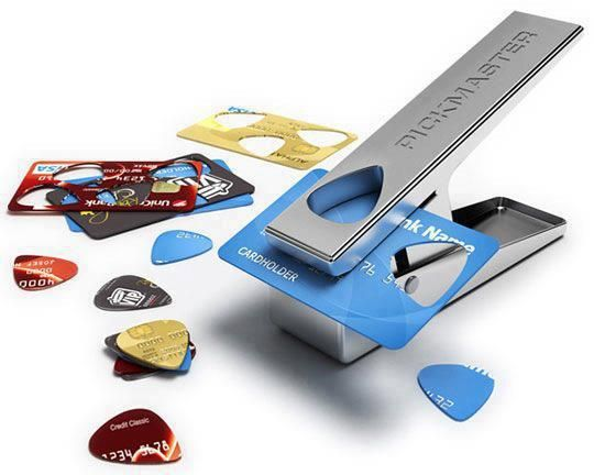 Turn any credit card into a guitar pick. Suck a great idea. Pickmaster.
