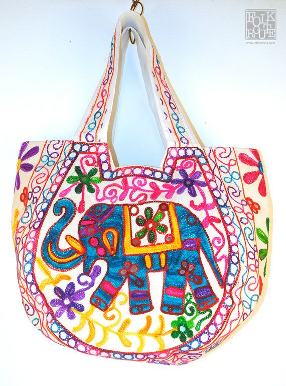 Gujarat Hand Embroidery Round White Tote Bag by FolkRoute on Etsy