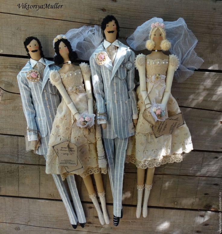 Купить куклы тильда ручной работы ВИНТАЖНАЯ СВАДЬБА повтор - бежевый, серо-голубой