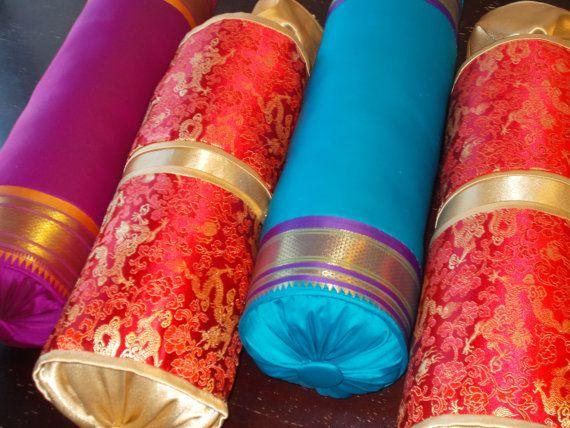 Beautiful India Silk Sari Neckroll Pillows and Chinese Brocade neckroll Pillows Sale was 30