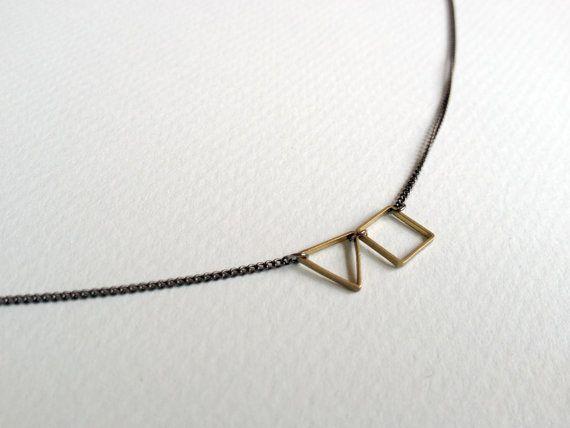 : Squares, Triangles, Geometric Necklace, Geometric Gold, Simple Geometric