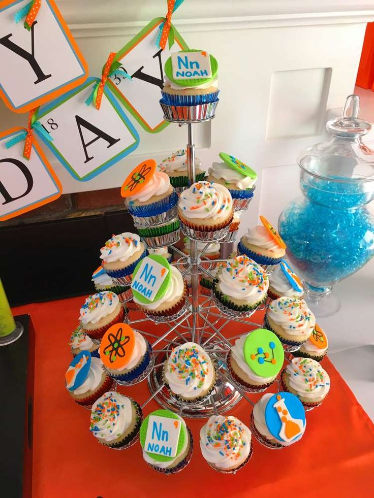 Fun cupcakes at a science birthday party! See more party planning ideas at CatchMyParty.com!