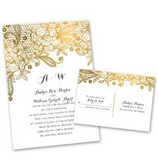 Gold Lace Wedding Invitation with Free Response Postcard