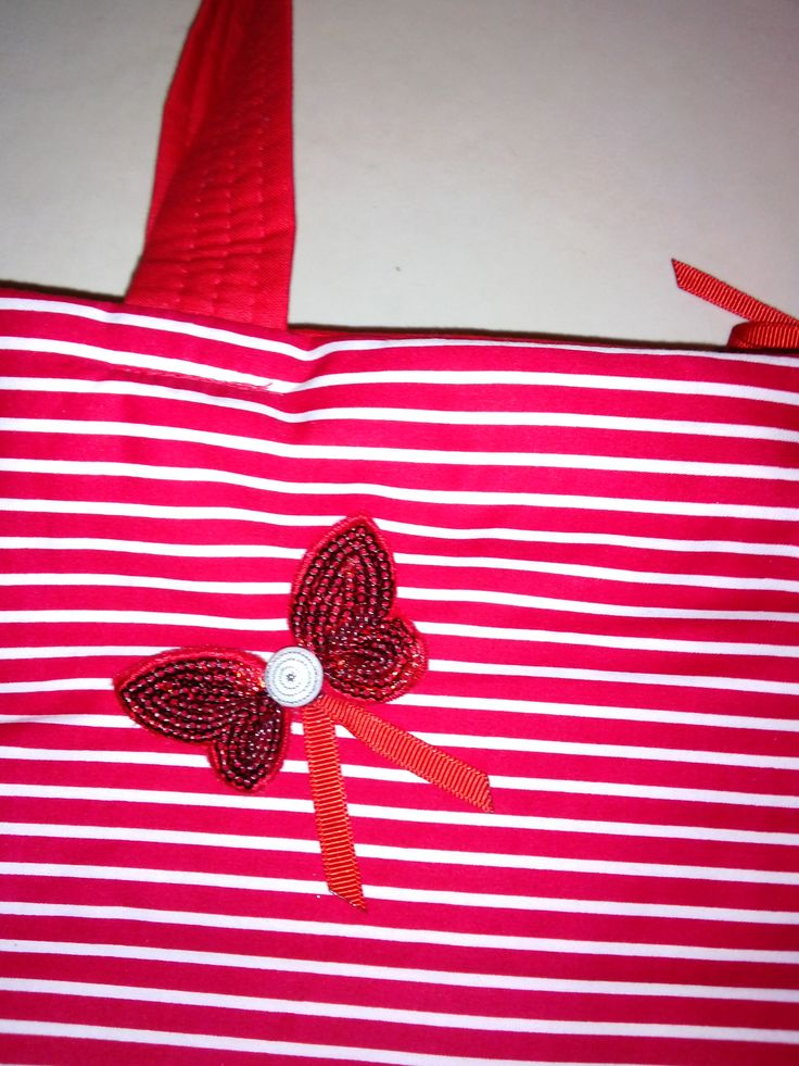 Handmade handbag bag in red and white with sequin butterfly detail made by Bubblegum Treehouse
