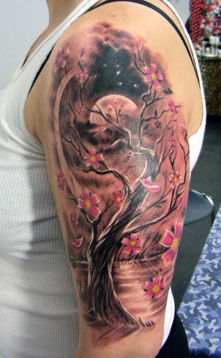 Image detail for -Full Moon, Cherry Blossom Tree Tattoo Pictures at Checkoutmyink.com