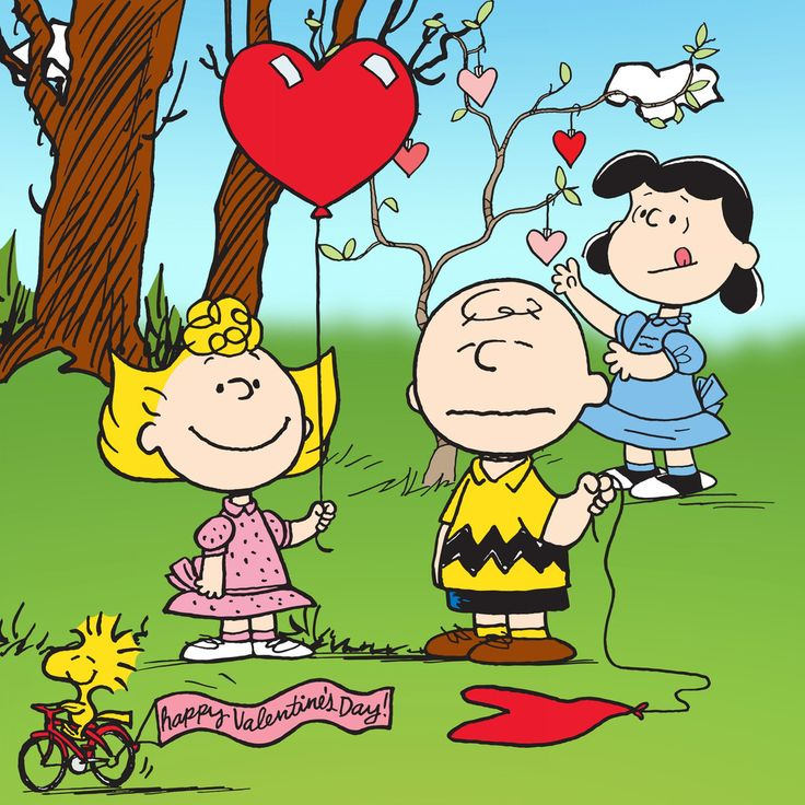 Peanuts characters with heart balloons for Valentine's Day