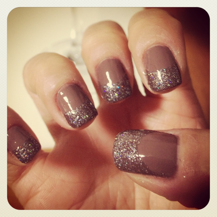 sparkles on nails ... halfmoon nail art/french tip
