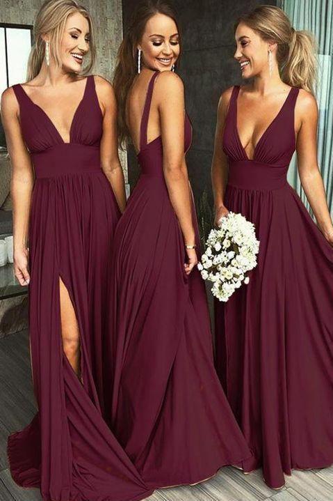 A Line Burgundy V Neck Ruffles Slit Bridesmaid Dresses Long Cheap Prom Dresses PW585