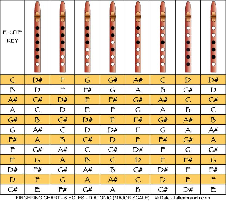 "6 Holes Diatonic (or major) Scale -   This is the well known ""do-re-mi-fa-sol-la-ti-do"" scale. Even though most Native American (& Style) Flutes are not usually tuned to this scale,  you can try it, using the fingering above..."