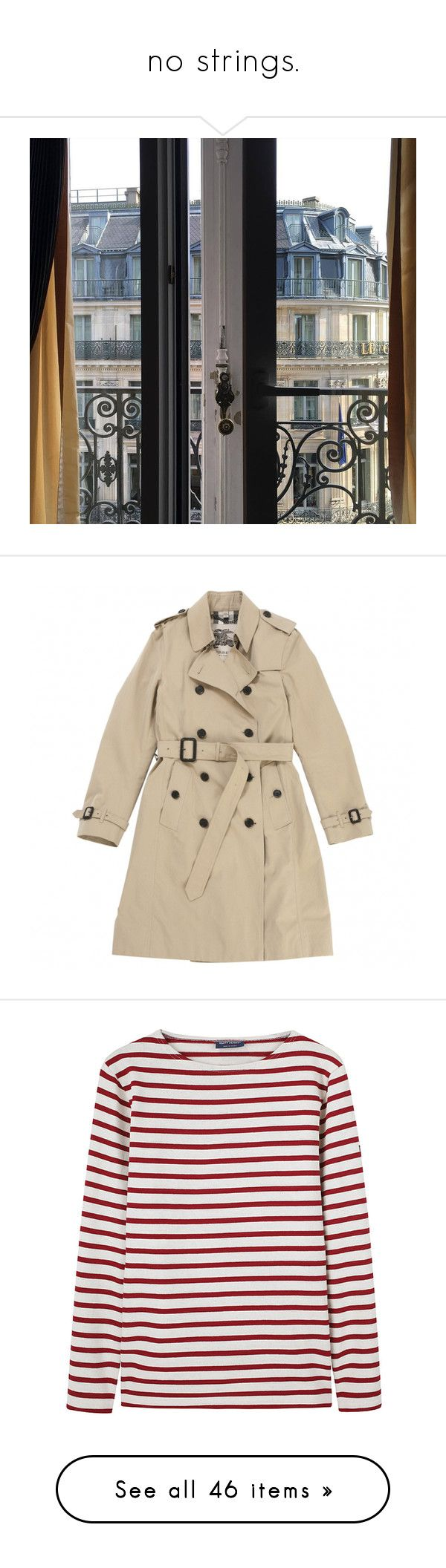 """""""no strings."""" by sickrentgirl ❤ liked on Polyvore featuring outerwear, coats, jackets, beige trenchcoat, burberry, brown coat, brown trench coat, burberry coat, tops and t-shirts"""