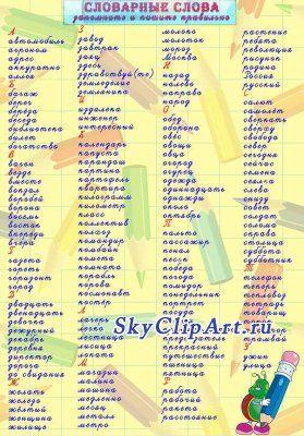 Плакаты для школы - словарные слова