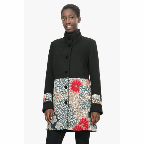 Doudoune longue à col fourrure imprimé floral femme Desigual - 3Suisses